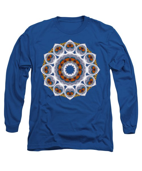 Peacock Fractal Snow Flower Long Sleeve T-Shirt