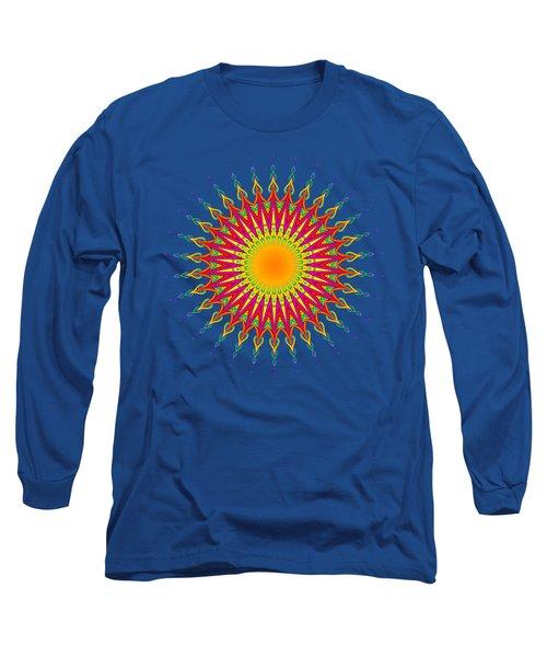 Peacock Sun Mandala Fractal Long Sleeve T-Shirt