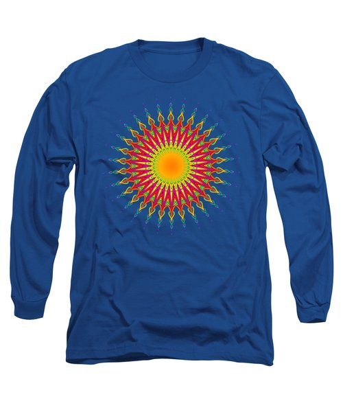 Peacock Sun Mandala Fractal Long Sleeve T-Shirt