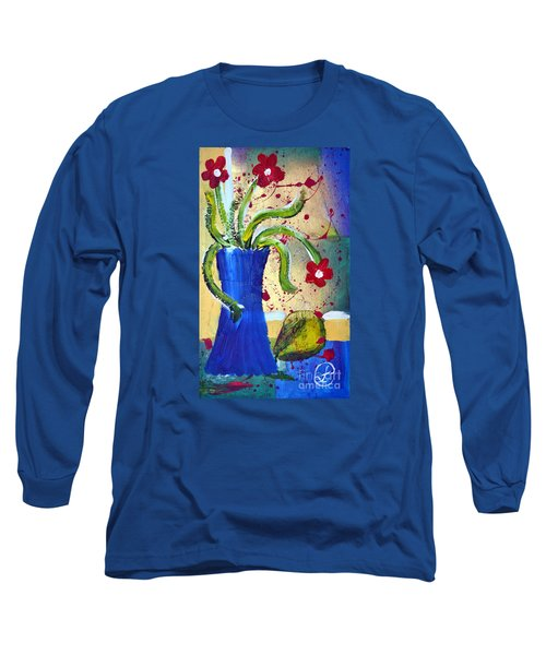 Pear And Red Flowers Long Sleeve T-Shirt by Lynda Cookson
