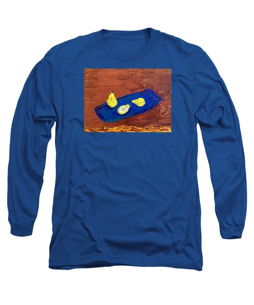 Long Sleeve T-Shirt featuring the painting Pears On A Blue Platter by Brenda Pressnall