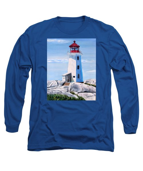 Long Sleeve T-Shirt featuring the painting Peggy's Cove Lighthouse by Marilyn  McNish