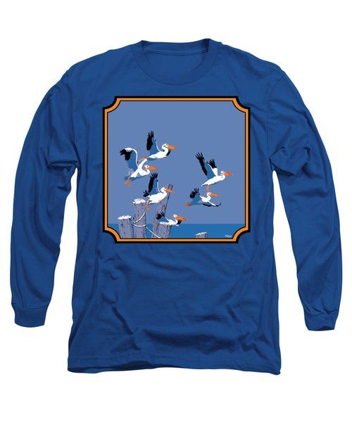 Pelicans In Flight Tropical Seascape - Abstract - Square Format Long Sleeve T-Shirt by Walt Curlee