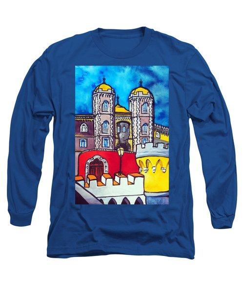 Long Sleeve T-Shirt featuring the painting Pena Palace In Sintra Portugal  by Dora Hathazi Mendes