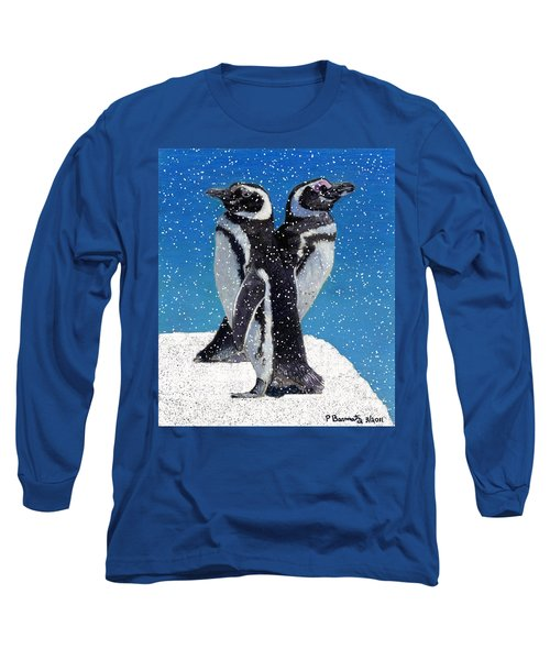 Penguins In The Snow Long Sleeve T-Shirt by Patricia Barmatz