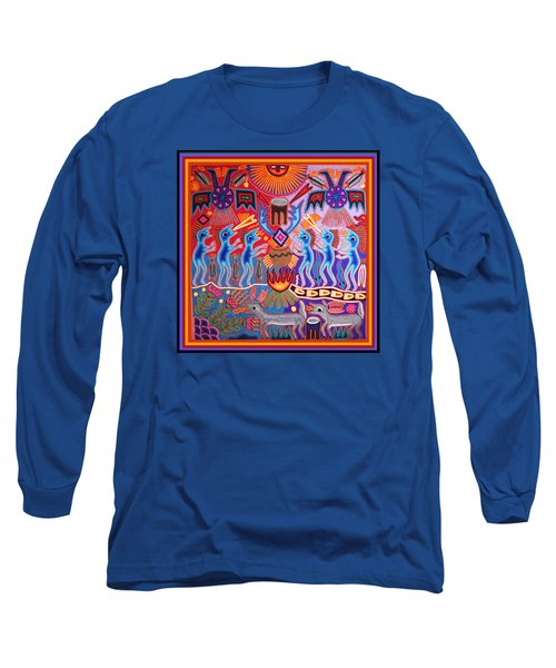 Peyote Shaman Hunting Ritual Long Sleeve T-Shirt by Vagabond Folk Art - Virginia Vivier