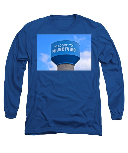 Pflugerville Texas - Water Tower Long Sleeve T-Shirt by Ray Shrewsberry