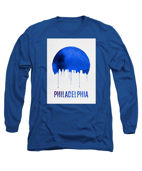Philadelphia Skyline Blue Long Sleeve T-Shirt by Naxart Studio