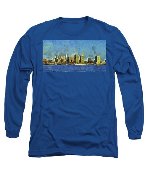 Long Sleeve T-Shirt featuring the mixed media Philly Skyline by Trish Tritz
