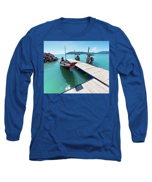 Long Sleeve T-Shirt featuring the photograph Pier At Khanom by Atiketta Sangasaeng
