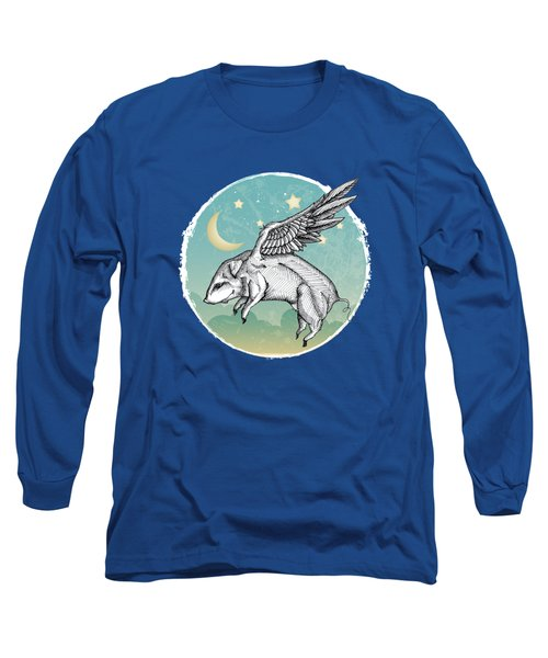 Pigs Fly - 2 Long Sleeve T-Shirt by Mary Machare