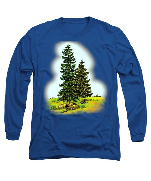 Pine Tree Nature Watercolor Ink Image 2         Long Sleeve T-Shirt