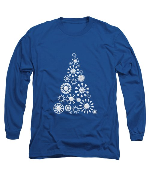 Pine Tree Snowflakes - Dark Blue Long Sleeve T-Shirt