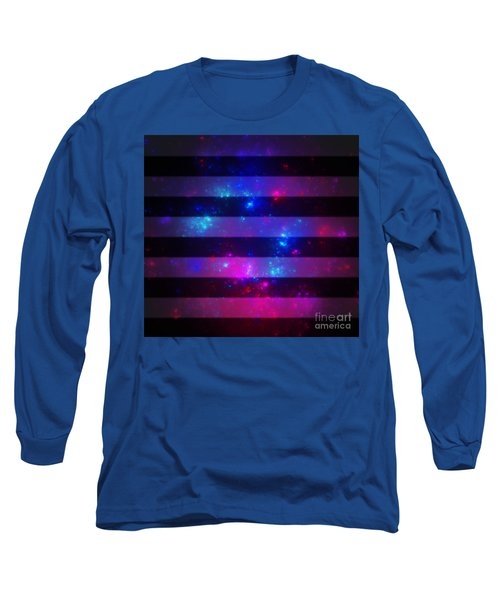 Pink And Blue Striped Galaxy Long Sleeve T-Shirt