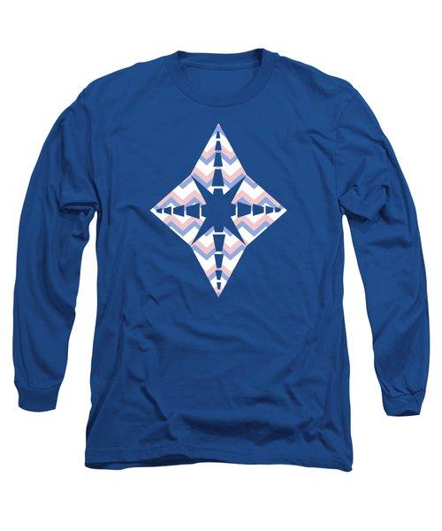 Pink Blue Chevron Pattern Long Sleeve T-Shirt