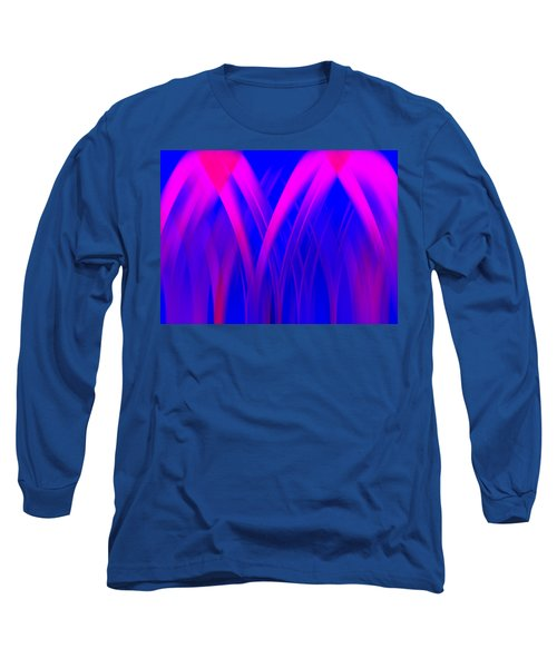 Long Sleeve T-Shirt featuring the digital art Pink Lacing by Carolyn Marshall