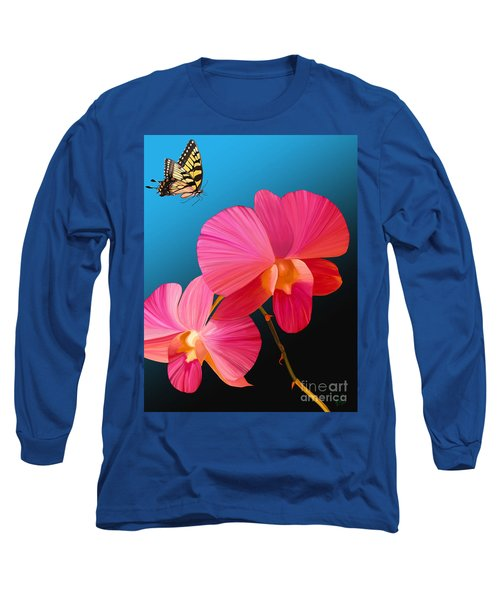 Long Sleeve T-Shirt featuring the painting Pink Lux Butterfly by Rand Herron