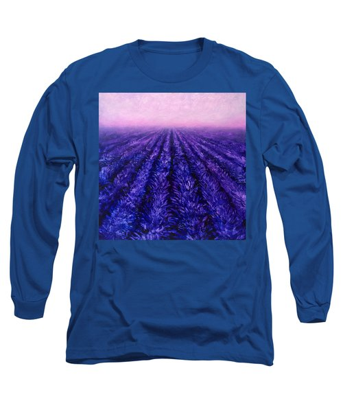 Pink Skies - Lavender Fields Long Sleeve T-Shirt by Karen Whitworth