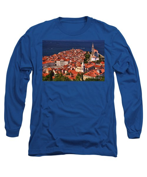 Piran From The Castle Wall Long Sleeve T-Shirt by Graham Hawcroft pixsellpix