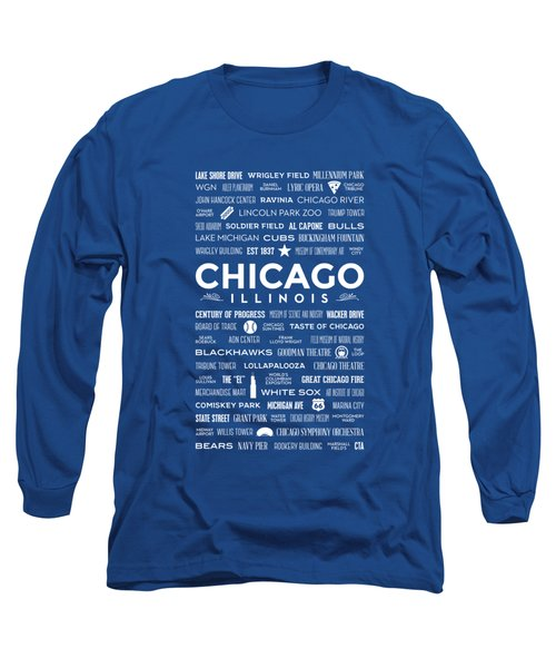 Places Of Chicago On Blue Chalkboard Long Sleeve T-Shirt