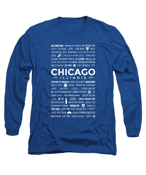 Long Sleeve T-Shirt featuring the digital art Places Of Chicago On Blue Chalkboard by Christopher Arndt