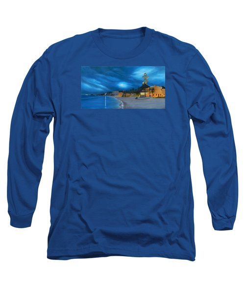 Playa De Noche Long Sleeve T-Shirt by Angel Ortiz