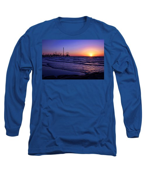 Pleasure Pier Sunrise Long Sleeve T-Shirt by Judy Vincent