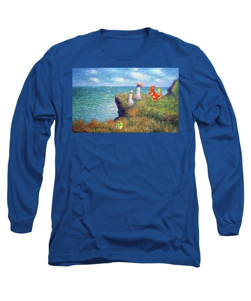 Long Sleeve T-Shirt featuring the digital art Pokemonet Seaside by Greg Sharpe