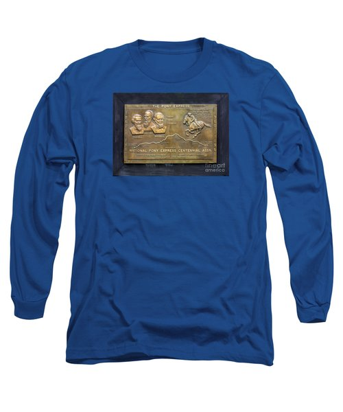 Pony Express Brass Plaque Long Sleeve T-Shirt by Linda Phelps