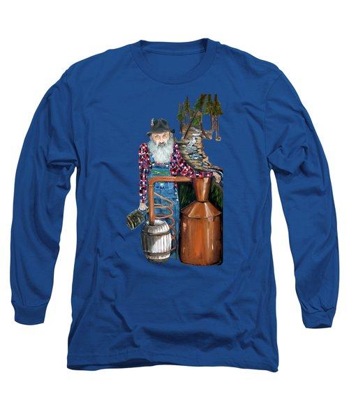 Popcorn Sutton Moonshiner -t-shirt Transparrent Long Sleeve T-Shirt by Jan Dappen