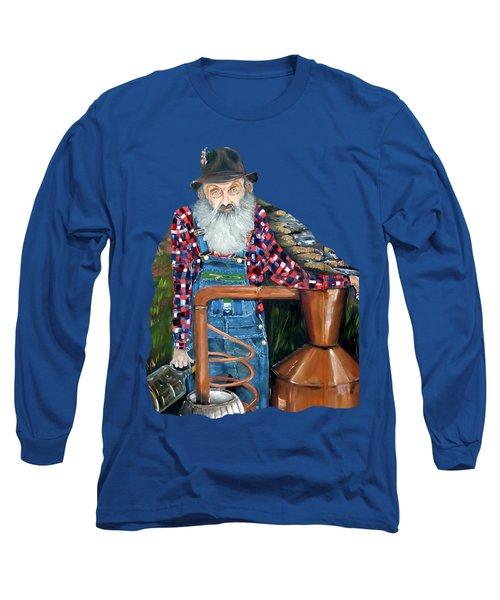 Popcorn Sutton Moonshiner - Tshirt Transparent Torso Long Sleeve T-Shirt by Jan Dappen