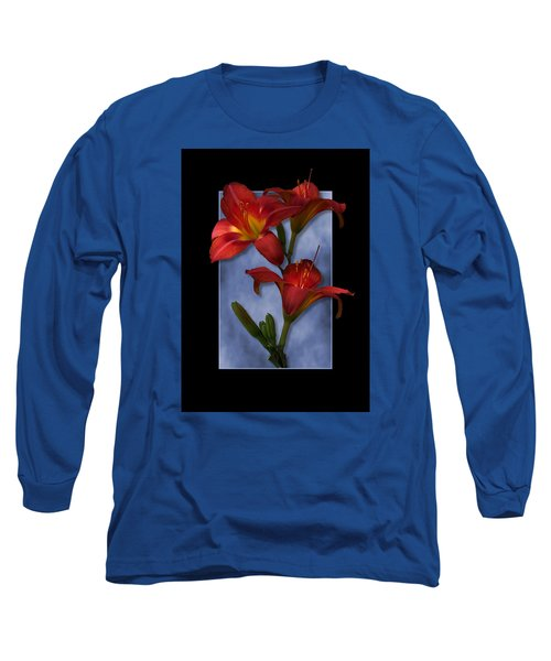 Portrait Of Red Lily Flowers Long Sleeve T-Shirt