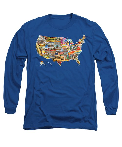 Postcards Of The United States Vintage Usa All 50 States Map Long Sleeve T-Shirt