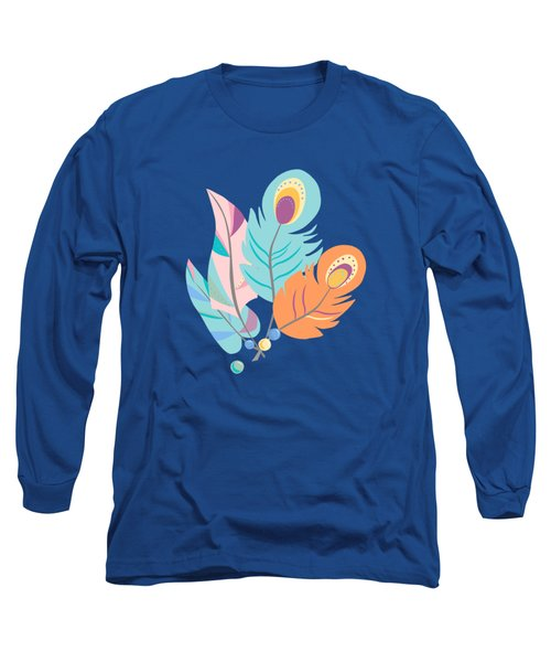 Pretty Boho Peacock Feather Pattern Long Sleeve T-Shirt