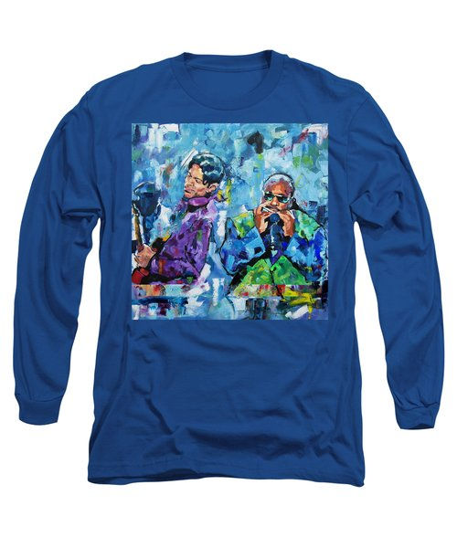 Long Sleeve T-Shirt featuring the painting Prince And Stevie by Richard Day