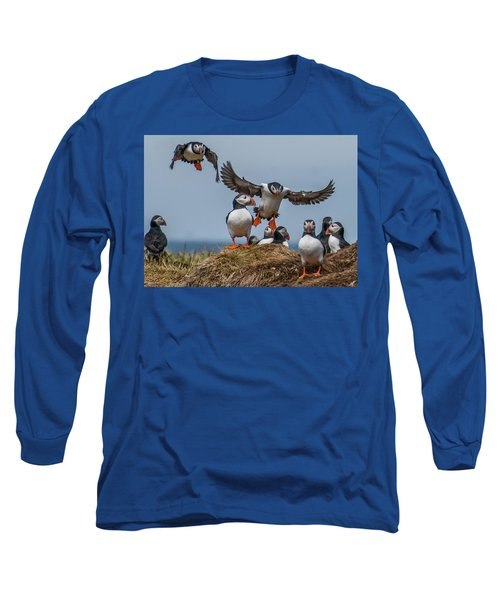 Puffins Long Sleeve T-Shirt by Brian Tarr