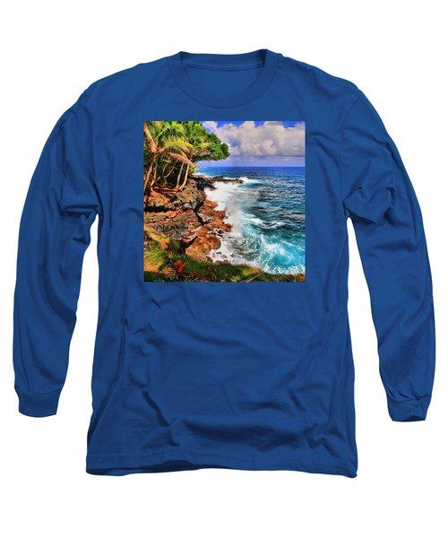 Long Sleeve T-Shirt featuring the photograph Puna Coast Hawaii by DJ Florek