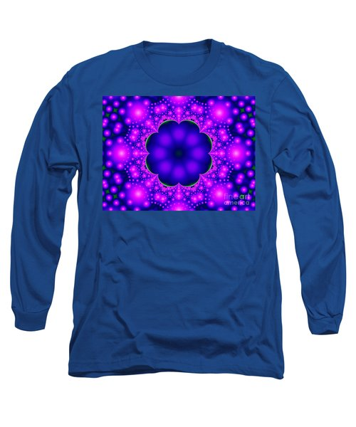 Purple And Pink Glow Fractal Long Sleeve T-Shirt