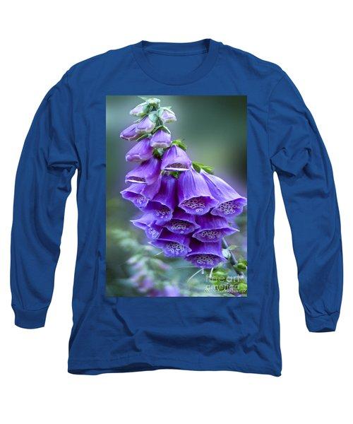 Purple Bell Flowers Foxglove Flowering Stalk Long Sleeve T-Shirt by Carol F Austin