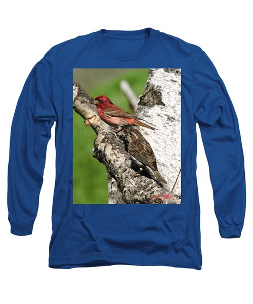 Long Sleeve T-Shirt featuring the digital art Purple Finches by John Selmer Sr