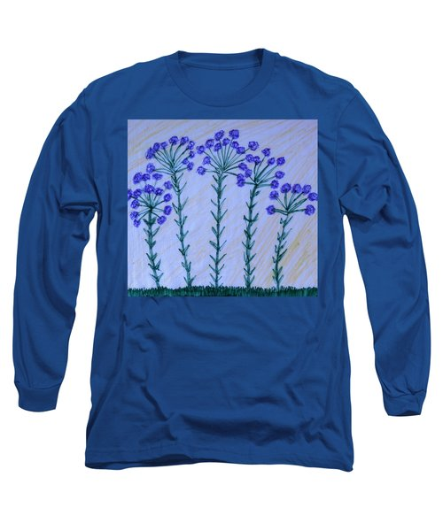 Purple Flowers On Long Stems Long Sleeve T-Shirt