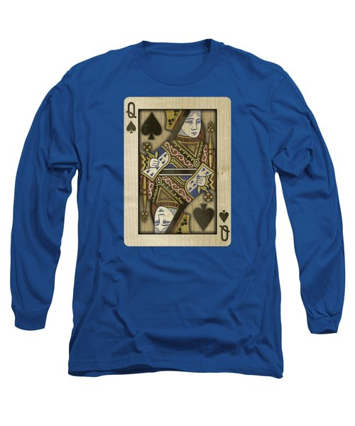 Queen Of Spades In Wood Long Sleeve T-Shirt
