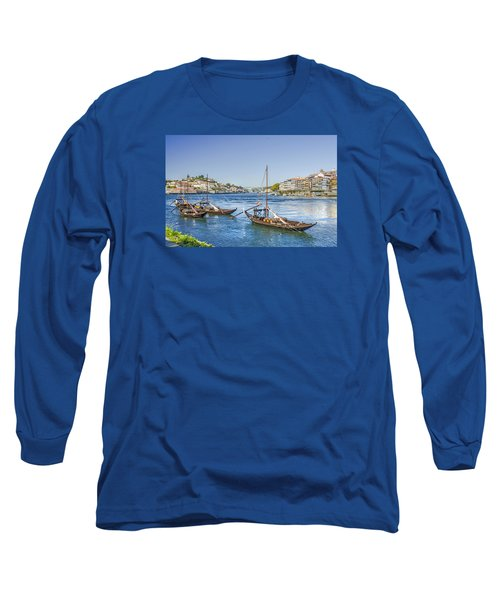 Long Sleeve T-Shirt featuring the photograph Rabelos On The Douro by Brian Tarr