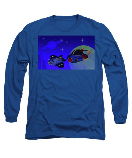 Race Thru Space Long Sleeve T-Shirt by Ken Morris