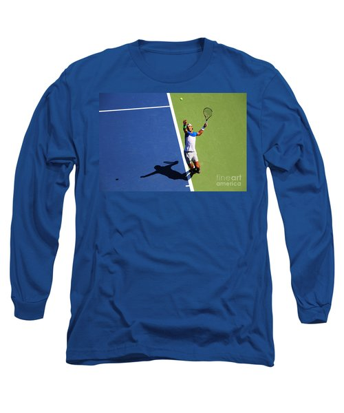 Rafeal Nadal Tennis Serve Long Sleeve T-Shirt by Nishanth Gopinathan