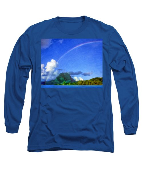 Rainbow Over Bora Bora Long Sleeve T-Shirt