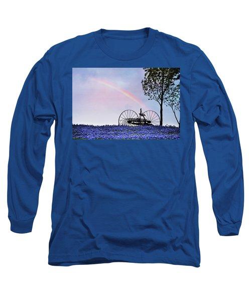 Rainbow Over Texas Bluebonnets Long Sleeve T-Shirt