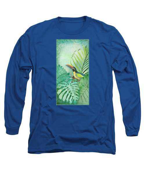 Rainforest Tropical - Tropical Toucan W Philodendron Elephant Ear And Palm Leaves Long Sleeve T-Shirt