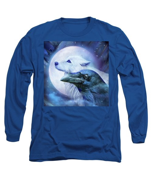 Long Sleeve T-Shirt featuring the mixed media Raven Wolf Moon by Carol Cavalaris