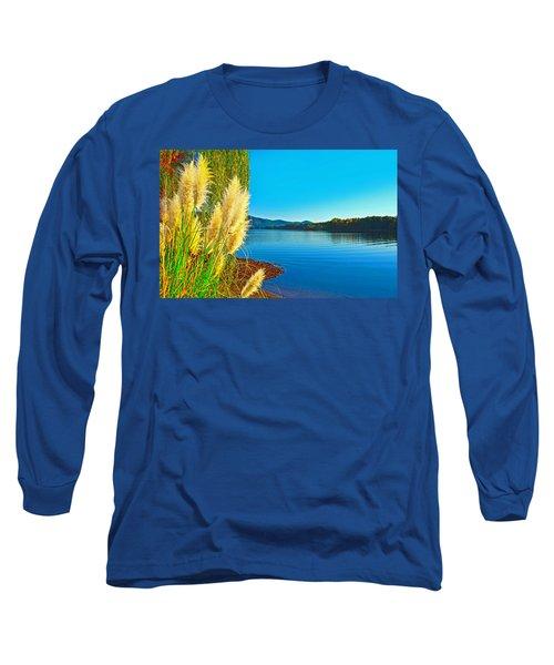 Ravenna Grass Smith Mountain Lake Long Sleeve T-Shirt by The American Shutterbug Society